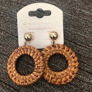 Wooden Drop-Hoop Earrings